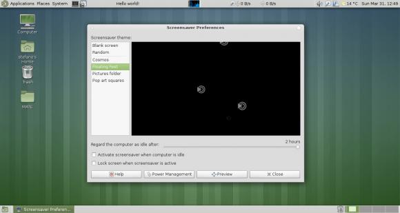 MATE 1.6: Bildschirmschoner (Quelle: mate-desktop.org)