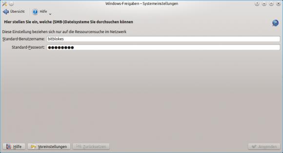 KDE: Standard-Samba-Anmeldedaten hinterlegen