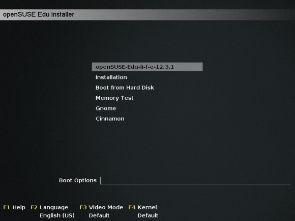 "openSUSE 12.3 ""Edu Li-f-e"": Bootscreen (Quelle: en.opensuse.org)"