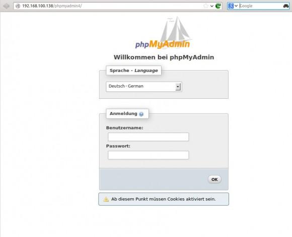 phpMyAdmin 4: Anmelden