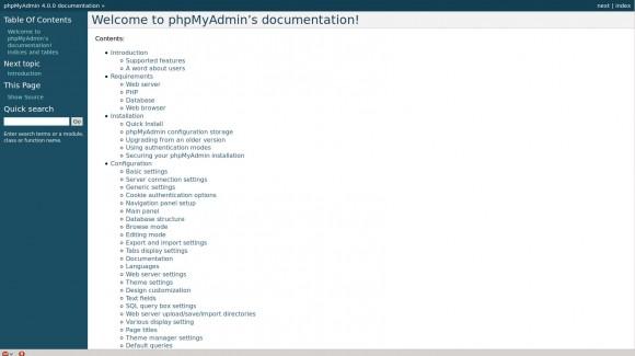 phpMyAdmin 4: Dokumentation