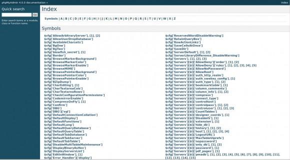 phpMyAdmin 4: Dokumentation Index