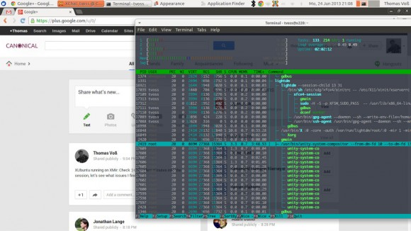 XUbuntu unter XMir (Quelle: Google Plus)