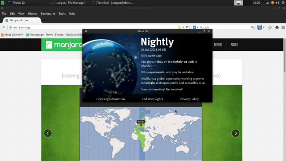 Firefox Nightly UX: Manjaro Xfce