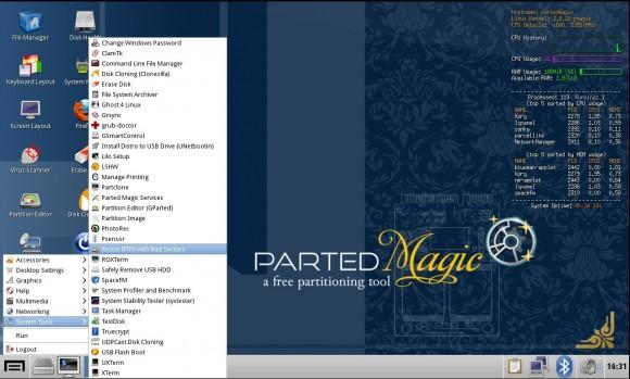 Parted Magic 2013_06_14: GParted mit Unterstützung für schlechte Sektoren auf NTS-Partitionen