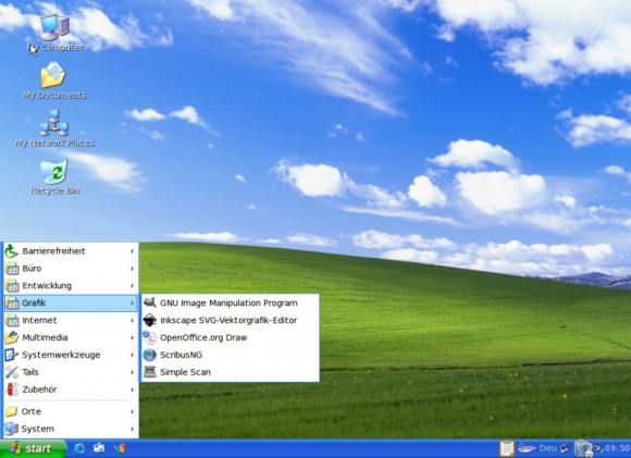 Tails 0.19: Windows-XP-Tarnung mit offenem Menü