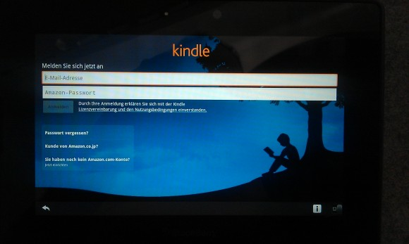 Amazon Kindle auf dem BlackBerry PlayBook
