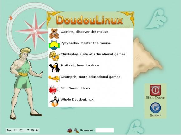 Doudou Linux 2.0: Auswahl-Menü