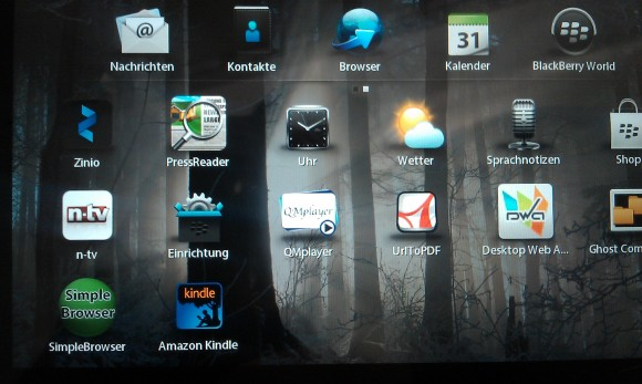 Amazon Kindle auf dem BlackBerry PlayBook installiert