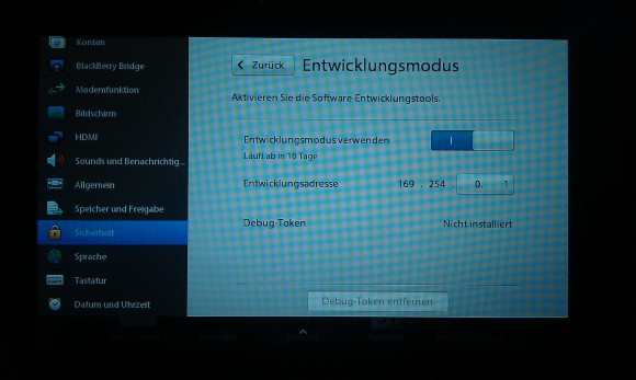 BlackBerry Playbook: Entwicklungsmodus