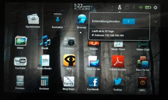 BlackBerry PlayBook: Entwicklungsmodus kann man auch via WiFi anzapfen