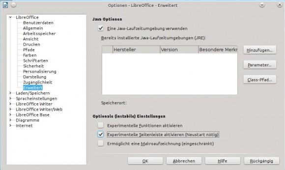 LibreOffice 4.1: Seitenleiste aktivieren