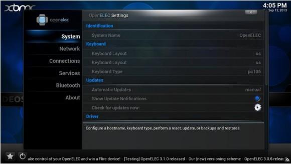 OpenELEC 3.2: Einrichtungs-Settings (Quelle: openelec.tv)