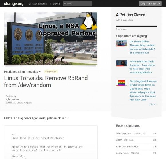 Petition: Raus mit RdRand aus dem Linux-Kernel!