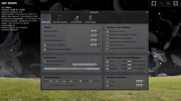Stellarium: Sternschnuppen-Anzahl selbst bestimmen