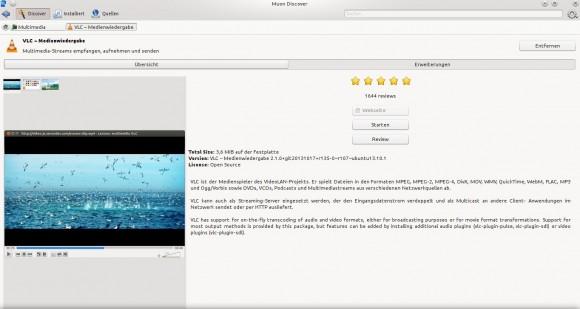 Muon Discover: VLC installiert