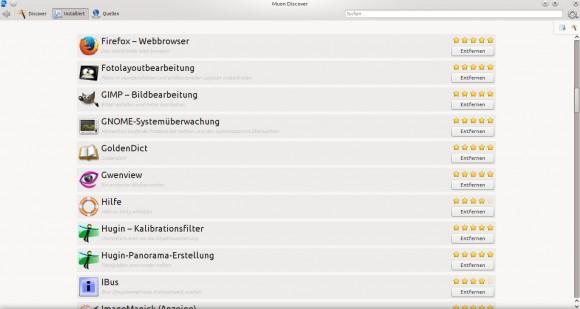 Muon DIscover: Installierte Anwendungen