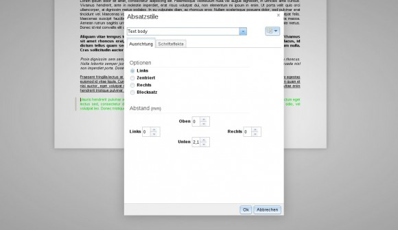 ownCloud Documents: Absatzstile - Ausrichtung