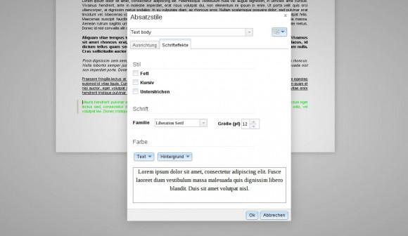 ownCloud Documents: Absatzstile - Schrifteffekte