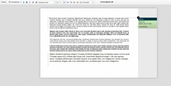 ownCloud Documents mit erweiterten Funktionseinstellungen