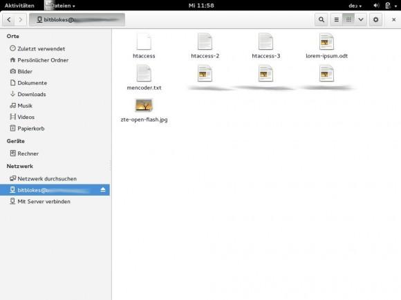 Fedora 20: Dateimanager - mit der ownCloud verbunden