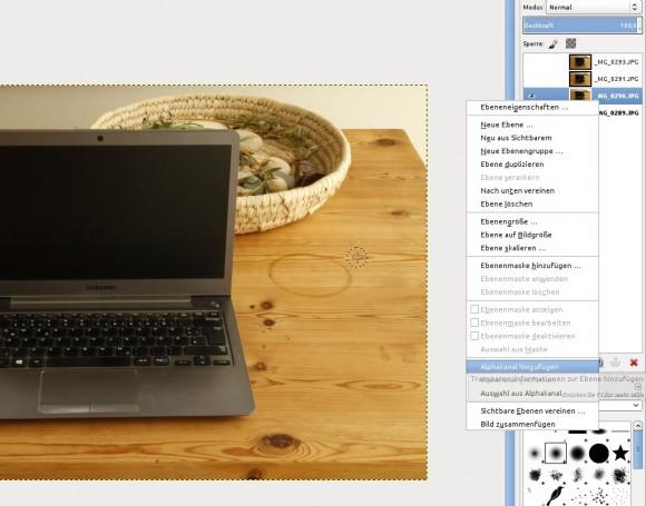 GIMP: Alphakanal hinzufügen