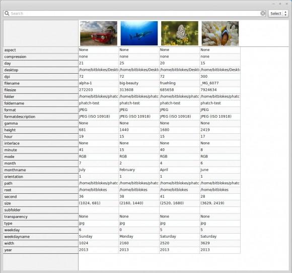 Phatch Image Inspector: Informationen
