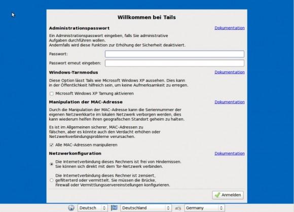 Tails: Weitere Optionen mit Mac-Spoofing