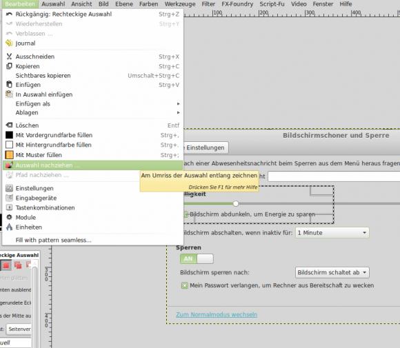 GIMP: Bearbeiten -> Auswahl nachziehen