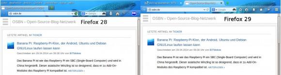 Firefox 28 links und Firefox 29 rechts