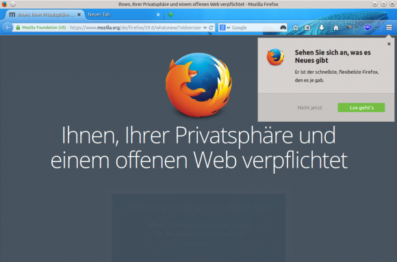 Firefox 29: Erststart
