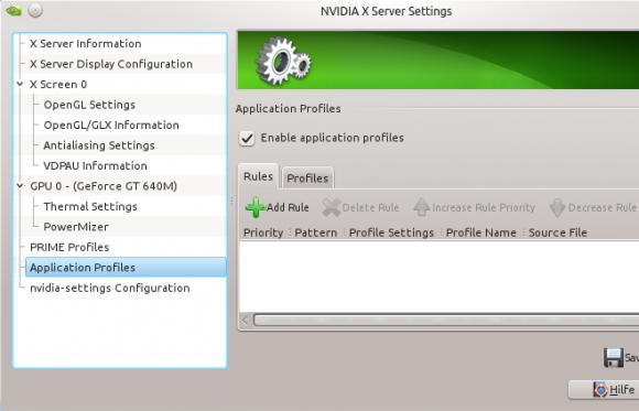 NVIDIA-Einstellungen: Profile