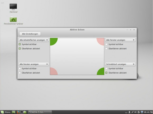 Linux Mint 17: aktive Ecken