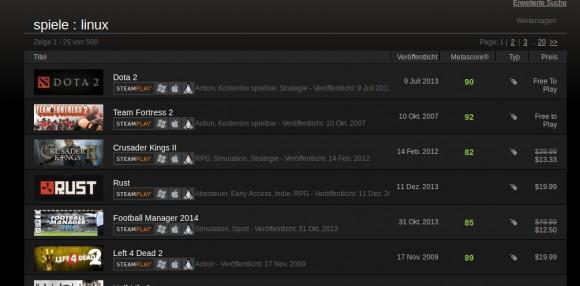 500 Linux-Spiele bei Steam