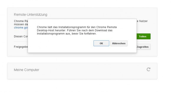 Chrome Remote Desktop: Download erforderlich