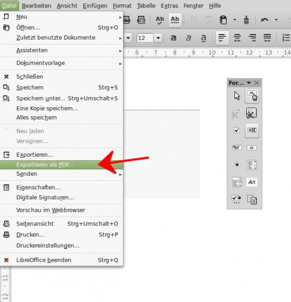 LibreOffice: Exportieren als PDF
