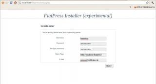 FlatPress: Installer, zweiter Schritt - Benutzer einrichten
