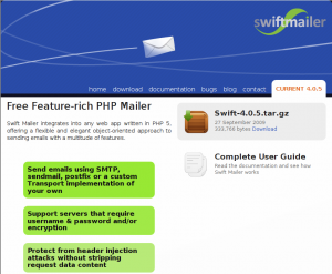 Swiftmailer Screenshot Webseite