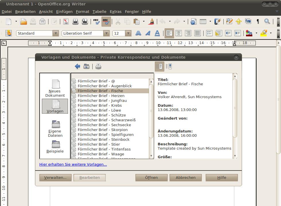 Openofficeorg Kostenlose Vorlagen Templates Für Libreoffice