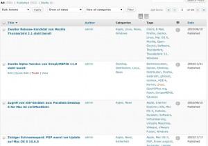 Wordpress 3.1 Spalten sortieren