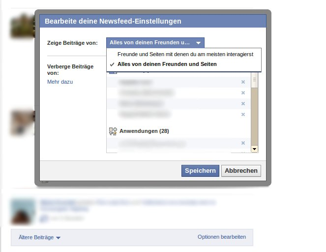 Facebook News Feed wieder normal