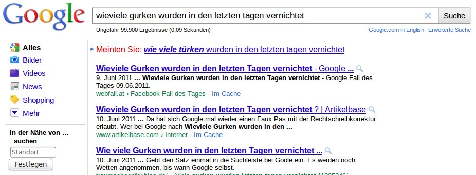 Google Gurken Türken vernichtet