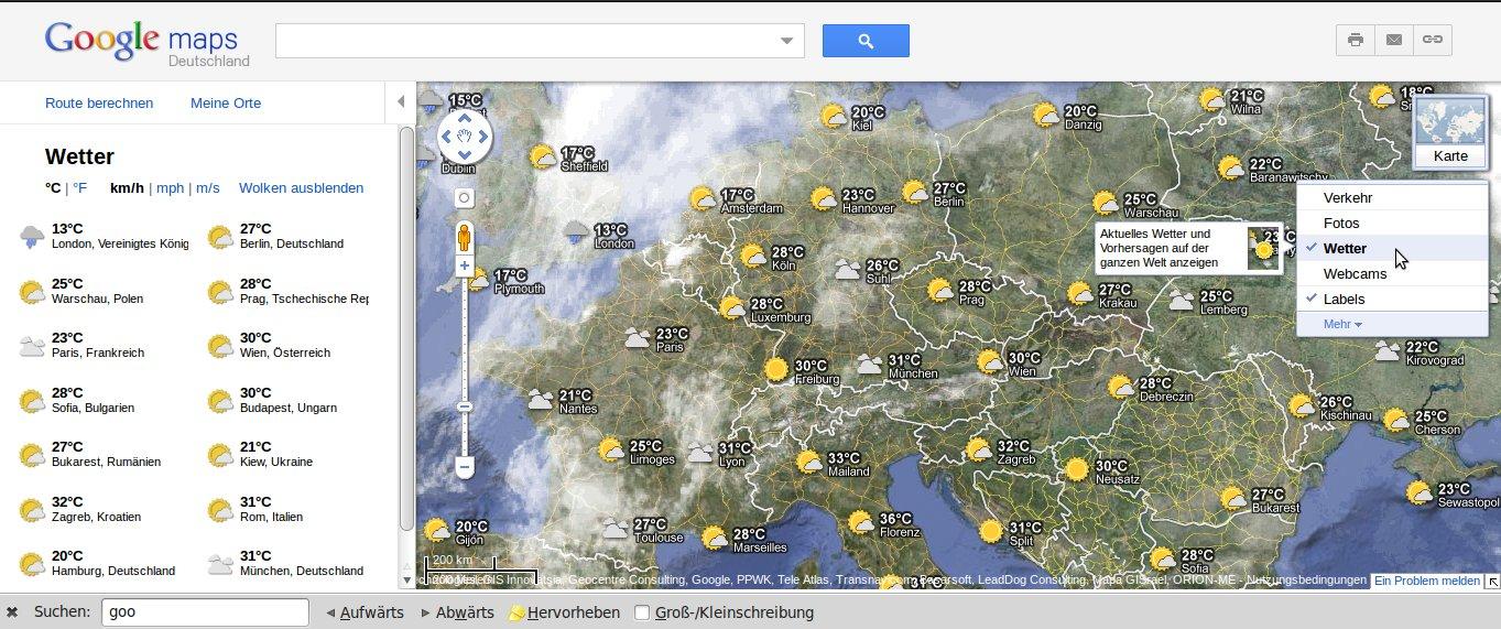 Google Maps Wetter