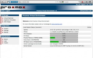 Proxmox 1.9 Webadministration