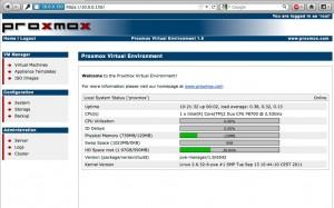 Proxmox 1.9 Webadministration