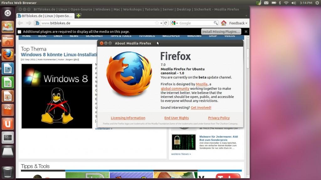 """Ubuntu 11.10 """"Oneiric Ocelot"""" Firefox 7"""