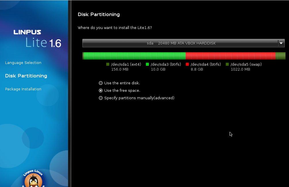 Linpus Linux Lite 1.6 Partitionieren