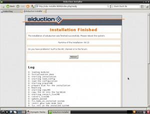 siduction LXDE Installation abgeschlossen