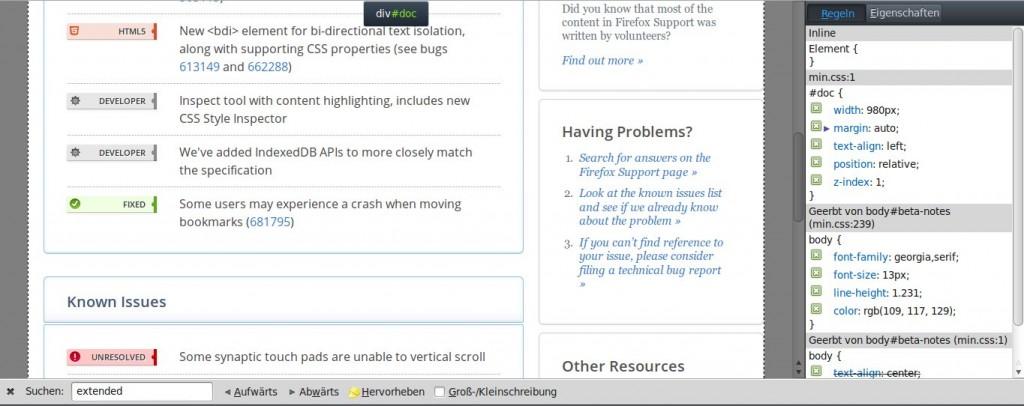 Firefox 10 CSS-Inspector