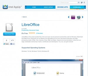 LibreOffice von SUSE in Intels AppUp(SM) Center